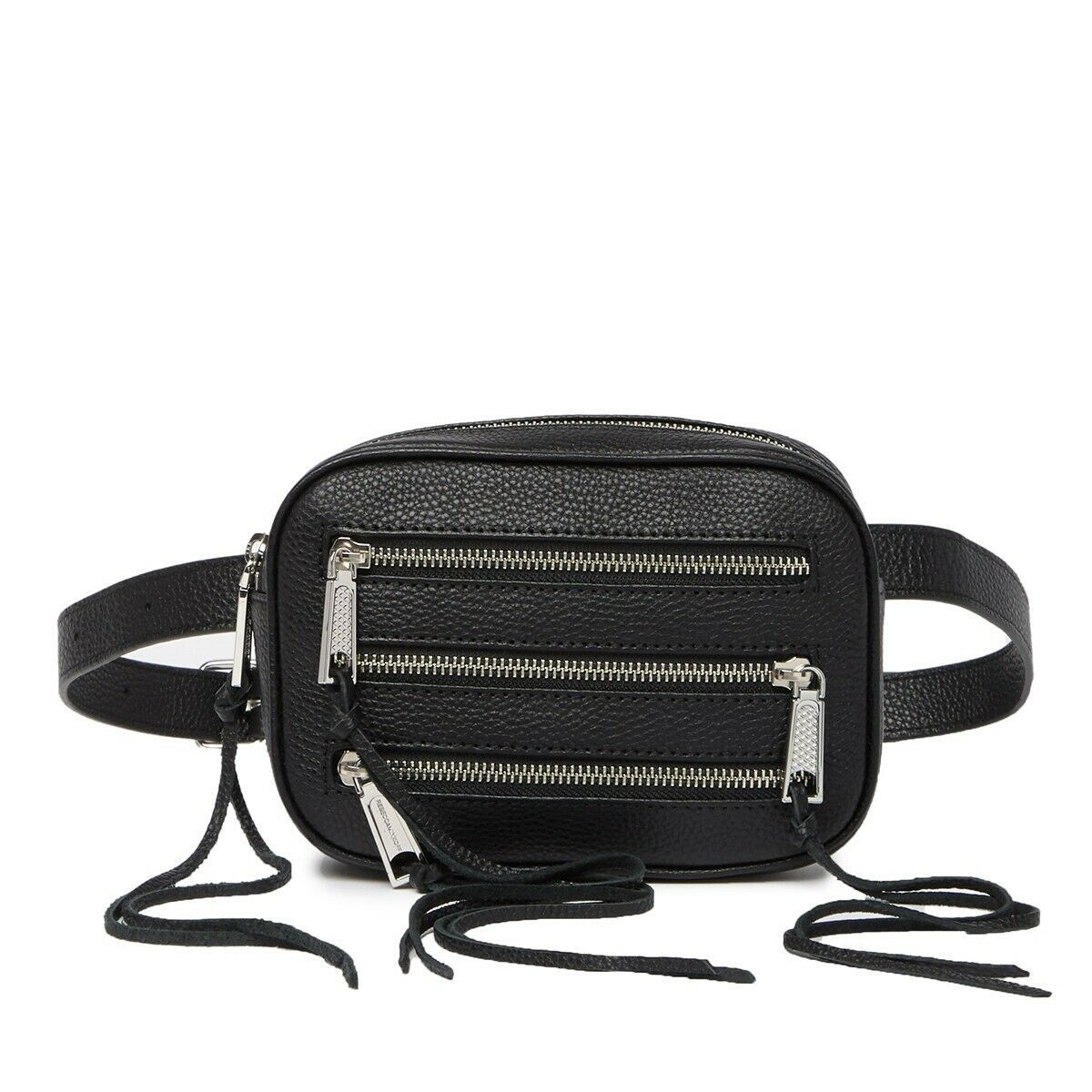 Primary image for NWT REBECCA MINKOFF 3 ZIP PEBBLED LEATHER BELT BAG FANNY PACK BLACK