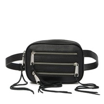 NWT REBECCA MINKOFF 3 ZIP PEBBLED LEATHER BELT BAG FANNY PACK BLACK - $87.07
