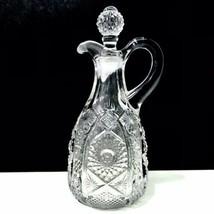 American Brilliant Period Antique Hand Cut Oil Vinegar Hobstar Diamond Cruet - $28.01