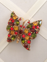 Vintage Regency Colorful Crystal Rhinestone Butterfly Filigree Fashion Brooch - $70.00