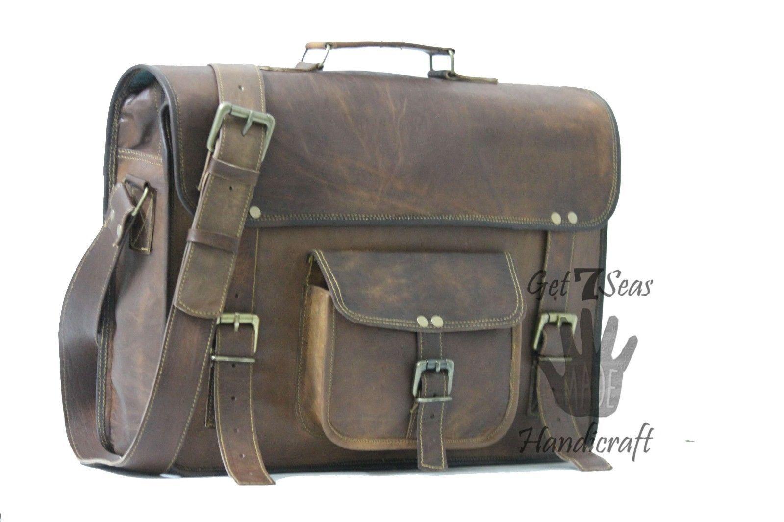 Vintage Leather Messenger Office Brown Laptop Satchel Bag Genuine Briefcase image 3