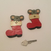Christmas Tree Ornaments Mouse in Stocking Handmade Wood Decor 1980 - $6.92