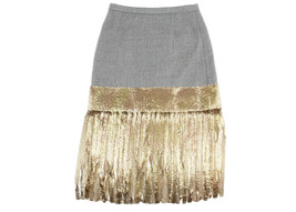 J Crew Collection Wool Skirt With Metallic Fringe 2 E2951 - $137.99