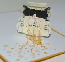 Lovepop LP1217 Wedding Car Just Married Pop Up Card White Envelope Cellophane image 4
