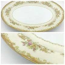 "Noritake M China Olivia 16"" Oval Serving Platter Tan Scrolls Gold Rim Floral DH - $99.95"