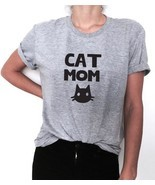 Cat Mom Funny Women T Shirt Cotton Top Cats Owners Gift Pets Lovers Summ... - $14.67