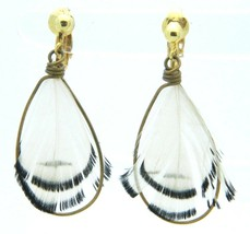VTG Gold Tone White Black Feather Dangle Clip Earrings - $19.80