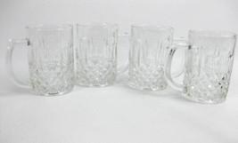 KIG Indonesia Clear Glass Mugs  Diamond Pattern W/ Elongated Thumbprint (4) - $8.00