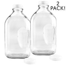 2-Quart Glass Milk Bottles w/Side Grip 2-Pack; Clear Glass Rectangular V... - $18.73