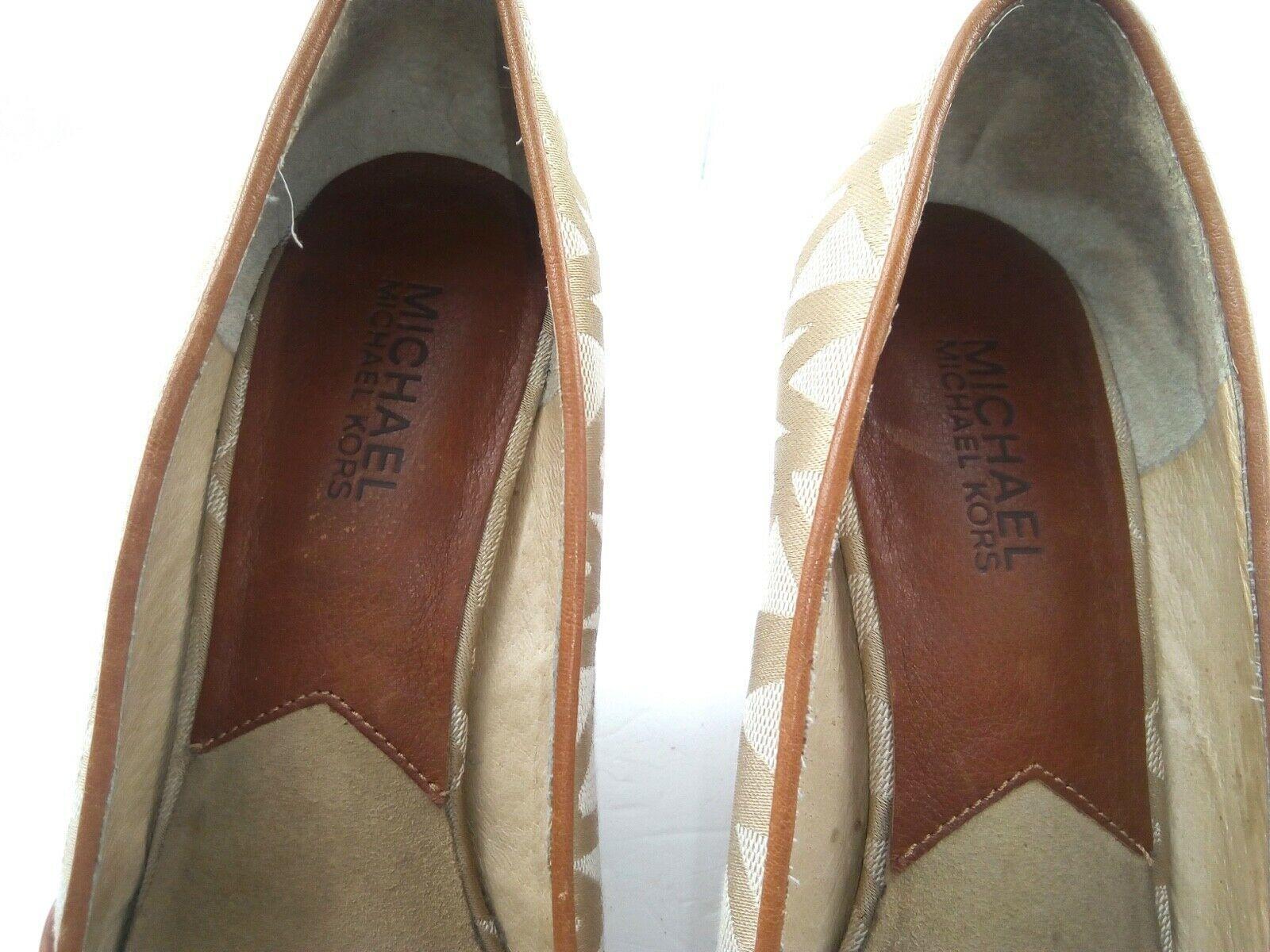 MICHAEL KORS Womens Wedges 7.5 Tan Cabana Peep Toe Platform Espadrilles $144 image 6