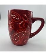 LAURIE GATES Paisley Print Embossed RED coffee mug - $9.05