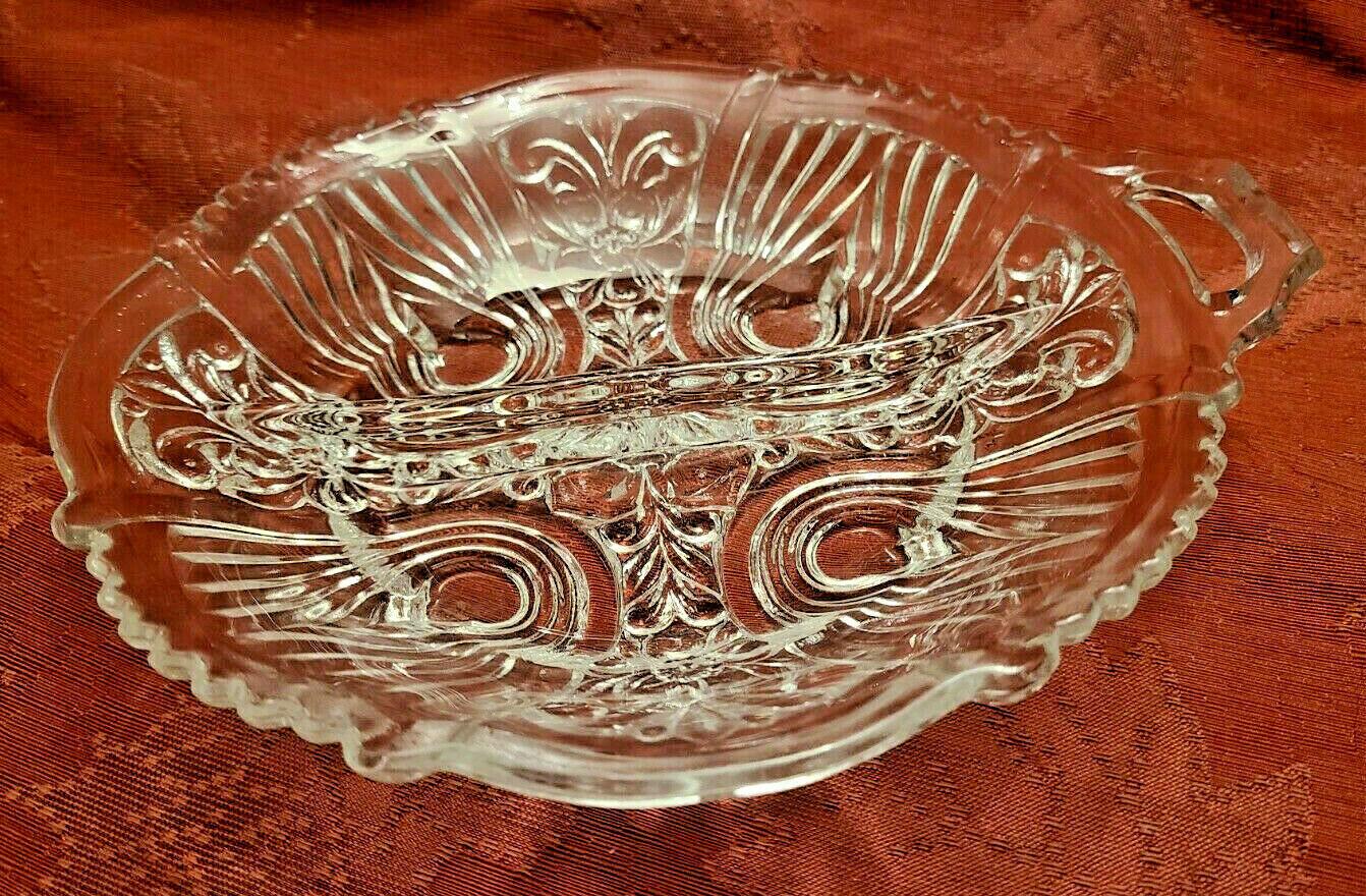 Vintage Divided Condiment Dish Double Handle Pressed Glass Fleur De Lis Pattern