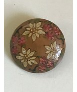 Vintage Hand Made White & Pink Painted Floral Wood Domed Round Pin Brooch – - $13.09
