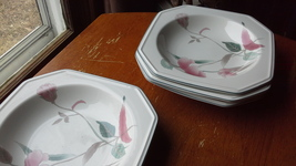 """Mikasa """"Silk Flowers"""" rimmed cereal bowls 8.5"""" diam. - 4 ct. - $8.00"""