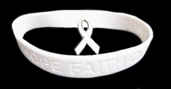 White Awareness Ribbon Lapel Pin Bracelet Set Silicone Cancer Debossed Letters
