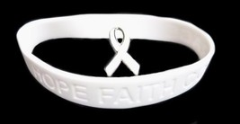 White Awareness Ribbon Lapel Pin Bracelet Set Silicone Cancer Debossed L... - $11.61