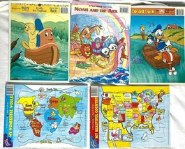 Vintage Frame Tray Puzzle Lot of 5 Donald Duck - Noah Ark - Poky - World Maps - $19.79