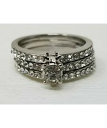 Three Band Stoned Costume Ring Silver Size 7 Wedding - $6.92