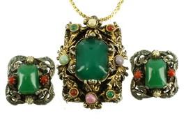 VINTAGE SELRO SELINI ORNATE ANTIQUE GOLD TONE PENDANT CLIP EARRINGS GLAS... - $163.79