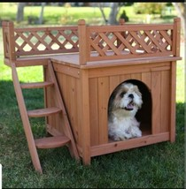 Wooden Dog House Small Pet Animal Indoor Outdoor Supply Staircase Shelte... - $140.37