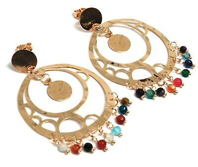 Drop Earrings 925 Silver, Watch, le Favole, Agate Blue, Disco Perforated
