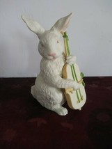 Vintage Department Dept 56 Porcelain Bisque Easter Bunny Rabbit Playing ... - $37.39