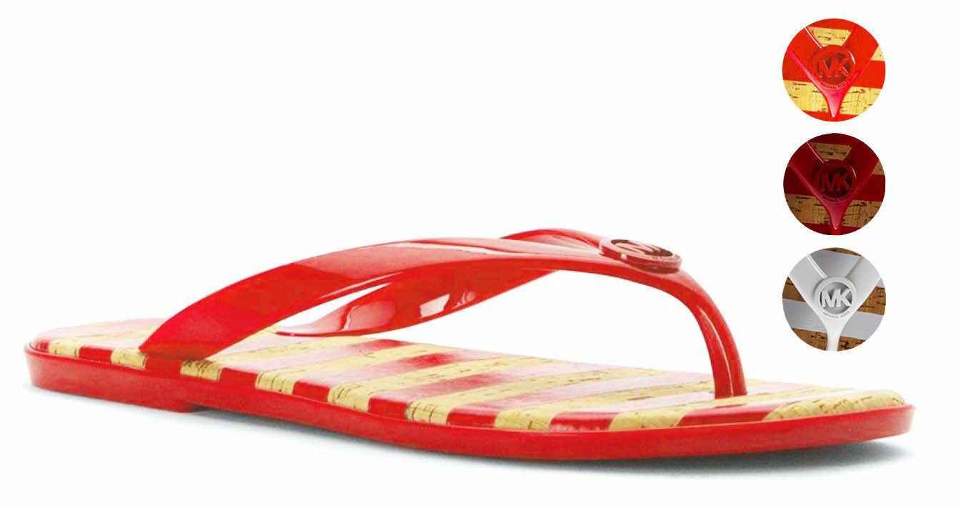 Michael Kors MK Women's Premium Designer Striped Jet Set Jelly Slip On Sandals