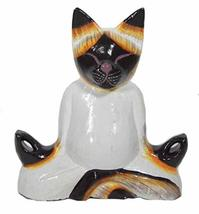 New Lotus Position Meditating Yoga Kitty Statue Hand Painted Carved Wood Praying - $21.72