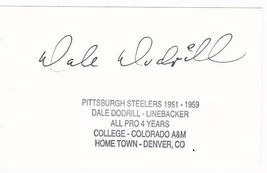 DALE DODRILL AUTOGRAPHED INDEX CARD PITTSBURGH STEELERS - £3.25 GBP