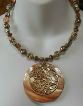 Vintage Large Thick Shell Pendant, Art Glass & Other Bead Collar Necklace - $26.72