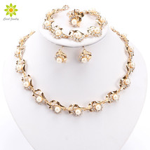 Simulated Pearl Costume Jewelry Sets Gold/Silver Plated Nigerian Wedding... - $21.75