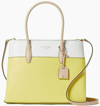 Kate Spade Eva Satchel Crossbody Yellow Leather WKRU6760 NWT Retail White - $196.40
