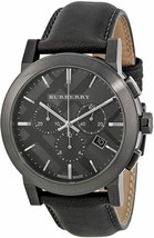 NEW Burberry BU9364 Men's Dark Grey Dial Leather Chronograph Quartz Watch 42mm  - $351.45
