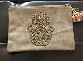 NWOT Lucky Brand Leather Pouch Hamsa leather Suede Beaded Brown Wallet Clutch - $28.95