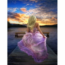 40x50cm DIY Paint By Number Kit Acrylic Painting On Canvas Girl Sunset R... - $9.59+