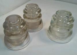 Vintage Hemingray 45 Lot of 3 Clear Glass Insulators USA - $32.68