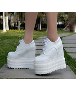 88H159b Hot thick platform lace up ankle pump  Size 4-8,white - $48.80