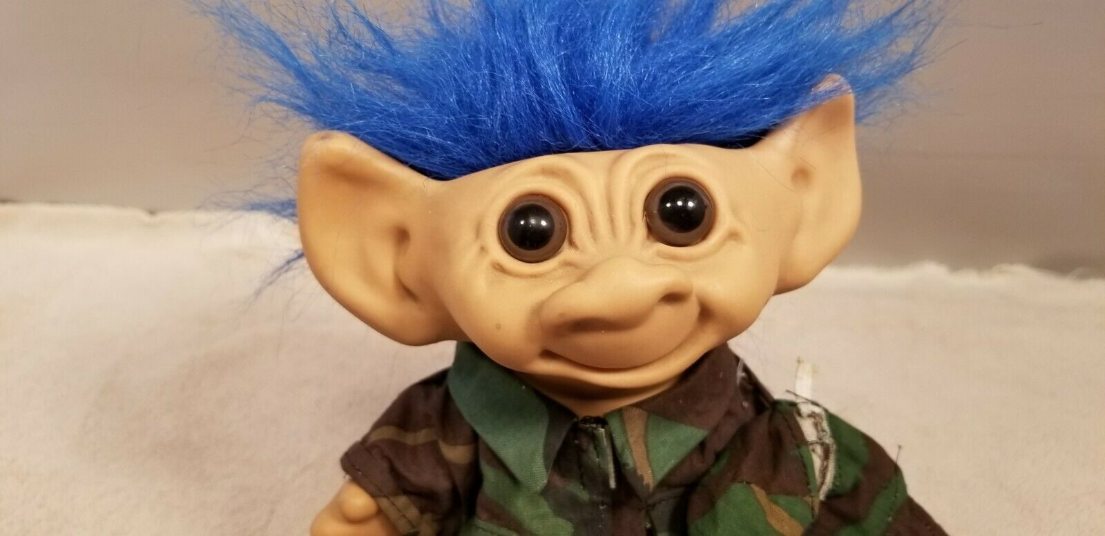 "Vintage Uneeda 8"" Troll Doll Camo Hunter Blue Hair Double Horse Shoe Feet"