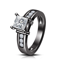 14k Black Gold Over 925 Pure Silver Womens Princess Cut Diamond Engageme... - £65.32 GBP