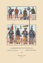 An Assortment of Military Costumes of the Renaissance by Auguste Racinet - Art P - $19.99+