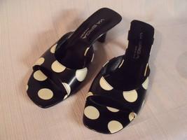 Via Spiga ~ Bingo ~ Women's Black & White Polka Dot Slip On Heels ~ Sz. 8M - $39.60