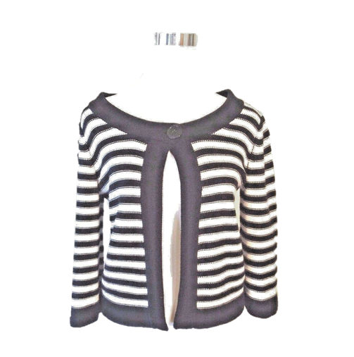 Croft & Barrow Women's Striped Cardigan Petite Sweater Blue White Knit Ribbed