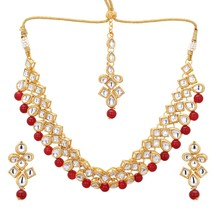 Kundan Red Pearl Fashion Jewelry SetI ndian Bollywood Ethnic Bridal  Wed... - $16.73