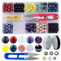 Stone Beads Box Kits 240pcs Round Loose Gemstone 8mm Natural Amethyst Bl... - $31.61