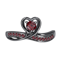Round Cut Red Garnet 14k Black Gold Over 925 Silver Lovely Heart Promise Ring - $59.49
