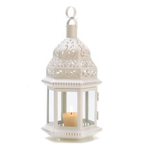 White Lantern Candle, Iron Moroccan Style Metal Lanterns For Candles - O... - $21.99