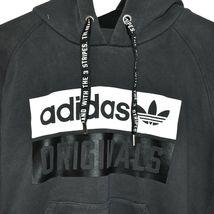 adidas Originals Women's Dark Gray Logo Graphic Hooded Hoodie Sweatshirt Size M image 3