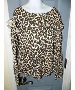 Crewcuts LS Ruffle Shoulder Top Leopard Animal Print Size 12 Girl's NWOT - $26.40