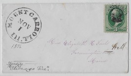 1871 Mount Carroll, Illinois cover with 3ct Green Washington Stamp Scott... - $4.99