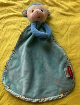 Fisher Price Monkey Lovey Security Blanket Plush Blue Polka Dot 2015 Baby Rattle - $6.78